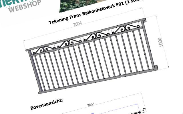 Detail tekening van een frans balkonhek op maat inclusief maatvoering en bevestigingen
